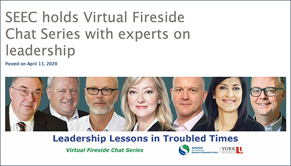 Leadership Lessons in Troubled Times – Webinar Series