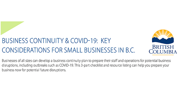 Business Continuity and COVID-19:  Key Considerations for Small Businesses in B.C.